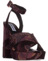 Steve Madden - Jodi Platform Sandals, Burgundy Velvet - Lyst