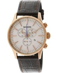Nixon - Men's Sentry Chrono Leather A4052459 Brown Quartz Fashion Watch - Lyst