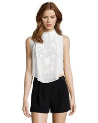 Romeo and Juliet Couture - Woven Back Detail Top - Lyst