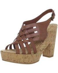 Lauren by Ralph Lauren - Womens Hallie Leather Open Toe Ankle Strap Platform Pu... - Lyst