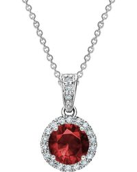 Tia Collections - 6mm Ruby & Diamond Halo Pendant - Lyst