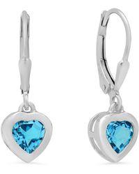 Amanda Rose Collection - Swiss Blue Topaz Heart Dangle Earrings In Sterling Silver Lever-backs - Lyst