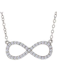 Jewelry Affairs - Infinity Sign Link And Cz Necklace In Sterling Silver, 18 - Lyst
