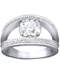 Swarovski - Crystal Vitality White Plated Stainless Steel Ring - Lyst
