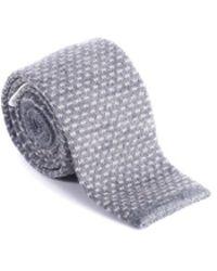 Brunello Cucinelli - Mens Gray White Patterned Skinny Tie - Lyst