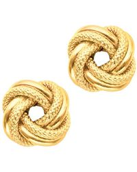 JewelryAffairs   14k Yellow Gold Shiny And Textured Double Row Love Knot Stud Earrings, 10mm   Lyst
