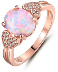 Peermont - 18k Rose Gold Plated Fire Opal & Cubic Zirconia Heart Statement Ring - Lyst