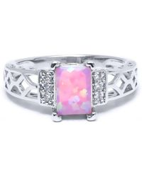 Peermont - 18k White Gold Plated And Pin. K Opal Resin. Baguette-cut Ring - Lyst