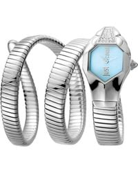 Just Cavalli - Womens Ss With Stones Watch With Ice Blue Dial - Lyst
