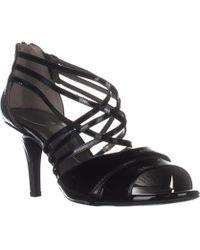 Bandolino - Marlisa Strappy Peep Toe Sandals, Black Patent - Lyst
