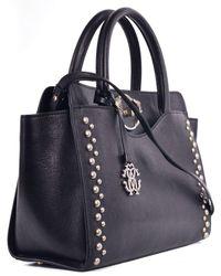Roberto Cavalli - Womens Black Stud Trim Logo Shoulder Handbag - Lyst 702c2dc456461