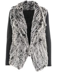Quinn - Maia Knitted Rabbit Fur Cardigan - Lyst