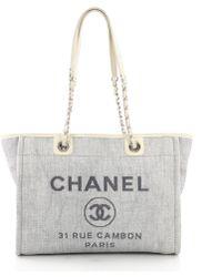 Chanel - Pre Owned Deauville Chain Tote Raffia Small - Lyst