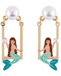 Les Nereides - I Am A Mermaid On Her Swing And Pearl Earrings - Lyst