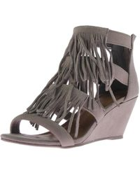 Material Girl - Womens Hannah Suede Fringe Wedge Sandals - Lyst