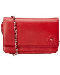 Chanel - Red Caviar Leather Camellia Wallet On Chain - Lyst