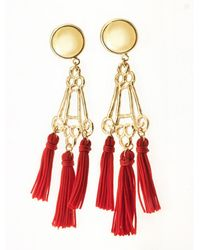 Viviane Guenoun - Pyramid Tasseled Gold Plated Earrings - Red - Lyst