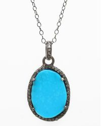 Adornia - Turquoise And Champagne Diamond Mirage Necklace - Lyst