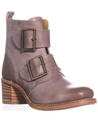 Frye - Sabrina Double Buckle Ankle Boots, Grey - Lyst