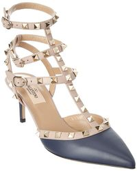 Valentino - Rockstud Leather Ankle Strap Pump - Lyst
