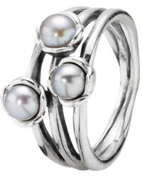PANDORA - Triple Bloom Silver Pearl Three Wishes Ring - Lyst