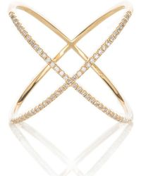Adornia - Yellow Gold And Swarovski Crystal Crossover X Ring - Lyst