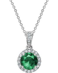 Tia Collections - 0.13ctw Diamond Halo Pendant With 6mm Emerald - Lyst