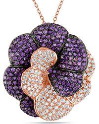 Catherine Malandrino - Purple And White Cubic Zirconia Floral Pendant - Lyst