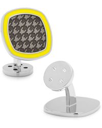 Ravi Ratan - Palladium Black And Yellow Houndstooth Cufflinks - Lyst