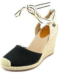 Roxy - Bolsa Open Toe Canvas Wedge Sandal - Lyst