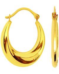 Jewelry Affairs - 10k Yellow Gold Swirl Textured Graduated Oval Hoop Earrings, Diameter 20mm - Lyst