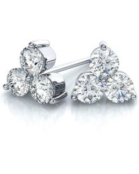 Suzy Levian | 14k White Gold 3-stone Diamond Cluster 2/5ct Tdw Stud Earrings | Lyst