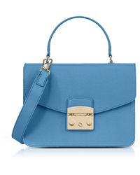 Furla - Women's Light Blue Leather Handbag - Lyst