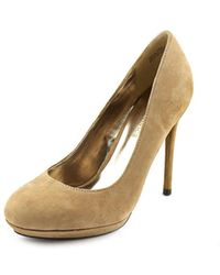 Modern Vice - Adele Round Toe Suede Heels - Lyst