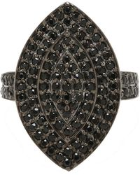 Adornia - Sterling Silver And Black Spinel Minnie Ring - Lyst