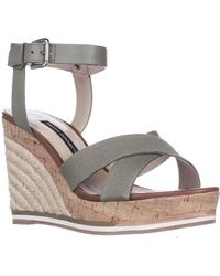 French Connection - Lata Cork Espadrille Wedge Sandals - Shark Skin - Lyst