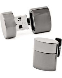 Ravi Ratan - Gunmetal Oval 4gb Usb Flash Drive Cufflinks - Lyst
