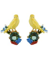 Les Nereides | Lovely Canaries Yellow Bird On Stone Earrings | Lyst