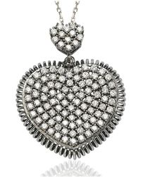 Suzy Levian - Pave Cubic Zirconia Sterling Silver White Heart Pendant - Lyst