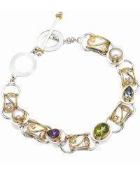 Jewelista - Sterling Silver, Gold & Colored Gem Bracelet - Lyst