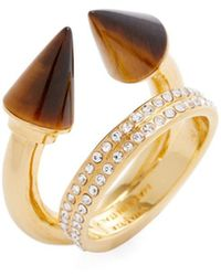 Vita Fede - 24k Plated Titan Stone Double Crystal Ring - Lyst