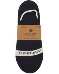 Sperry Top-Sider - Mens Signature Invisible Liner Socks In Navy/white - Lyst