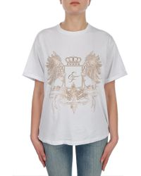 Elisabetta Franchi - Women's White Cotton T-shirt - Lyst