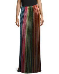 Balmain - Beaded Striped Skirt - Lyst