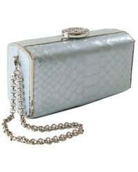 Nada Sawaya | Andrea Mini Box Clutch Bag Python Pitagora Metallic Baby Blue | Lyst