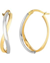 Jewelry Affairs - 14k Yellow And White Gold Square Tube Double Criss Cross Ovalish Hoop Earrings - Lyst