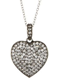 Adornia - White Topaz And Sterling Silver Carrie Heart Necklace - Lyst
