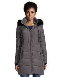 Catherine Malandrino - Heathered Dark Grey Down Coat With Faux Fur Trim And Back Adjustable Waist - Lyst