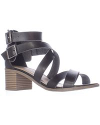 Material Girl - Mg35 Danee Block Heel Strappy Sandals, Black - Lyst