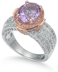 Suzy Levian - Two-tone Sterling Silver 4.9 Cttw Purple Amethyst Ring - Lyst